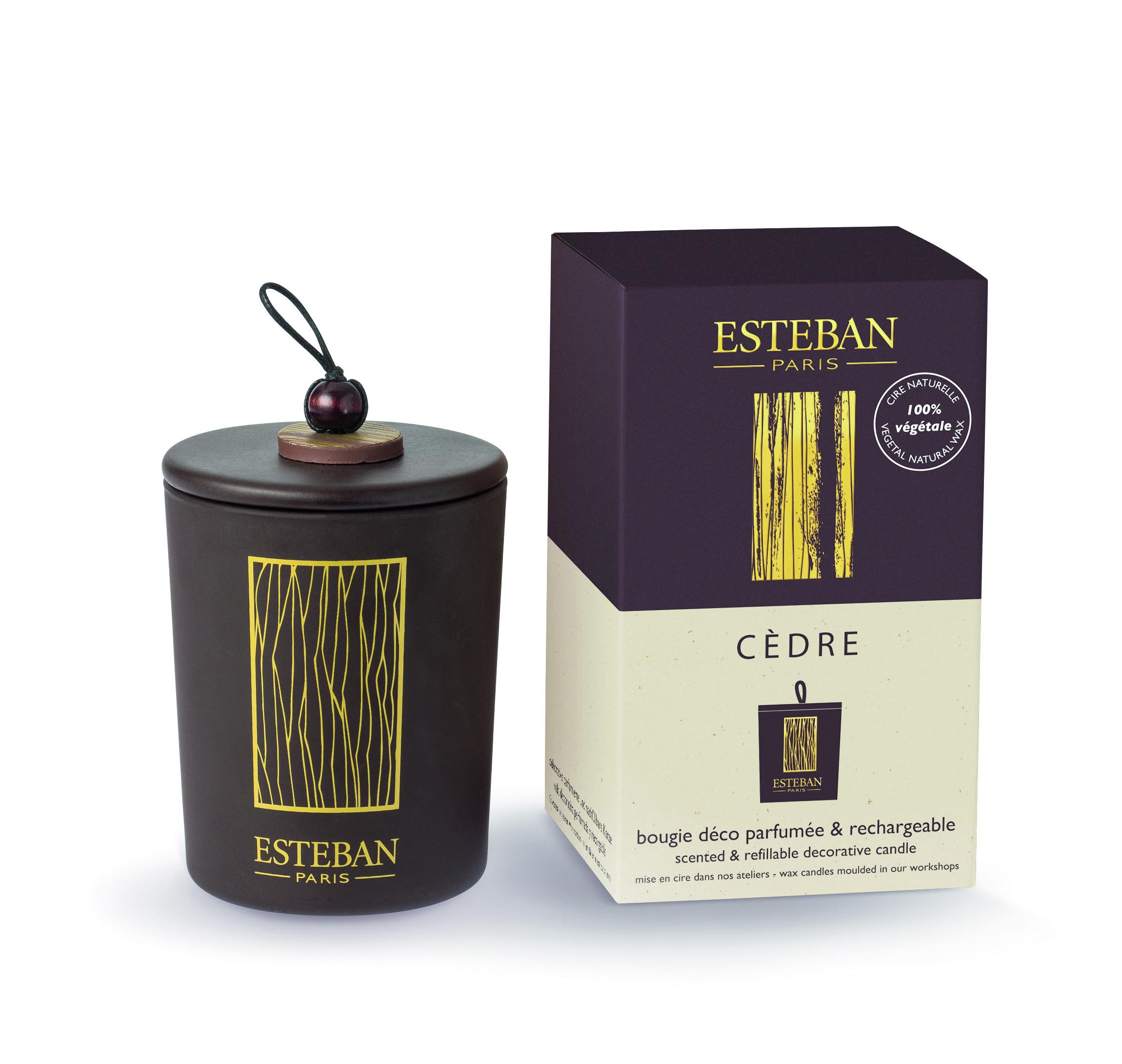 Bougie Decorative Parfumee Et Rechargeable Cedre Esteban Esprits
